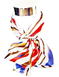 Silk-Feel Magic Fashion Neck Scarf - Multicolored Strips on Ivory Design (40+ tying styles)