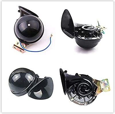 Viping Car Horn 165db Truck Horn Car Electric Horn Black Electric Snail Horn Loudspeaker Auto Horn Metal Air Horn Super Raging Sound for Any 12V Vehicles Lorrys Trains Boats Motorcycle Cars etc
