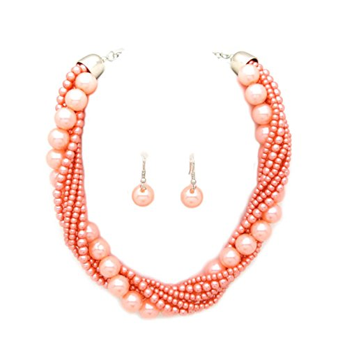 Hot Color Set Necklace - Fashion 21 Women's Twisted Multi-Strand Simulated Pearl Statement Necklace and Earrings Set (Peach Tone)