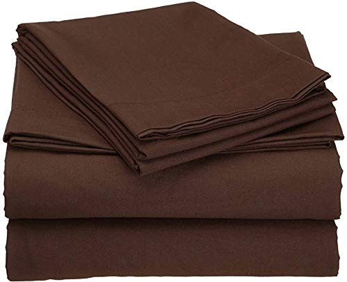Cometa 3Piece Set - 1 Fitted Sheet and 2 Pillowcases, 100 Percent Pure Cotton with 9'' Deep Pockets Fitted Sheet, 500 Thread Count - Twin, Chocolate Solid by Cometa