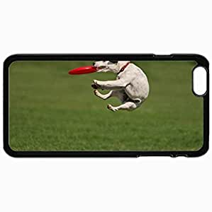Customized Cellphone Case Back Cover For iPhone 6 Plus, Protective Hardshell Case Personalized Dog Jump Game Black