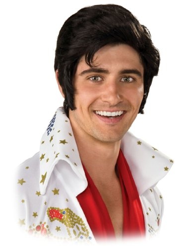 Black King Wig - Young Elvis Wig Black Hair Rock and Roll King Theatrical Mens Costume