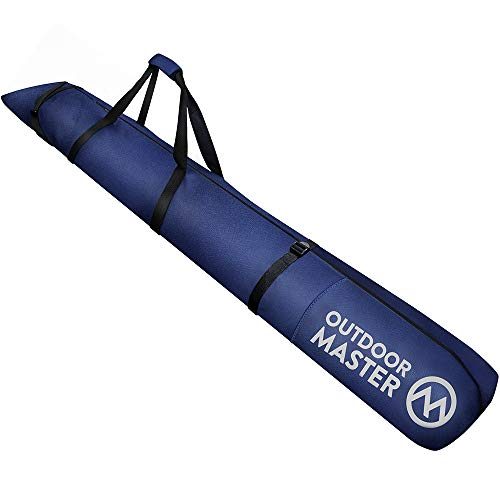 OutdoorMaster Ski Bag - Travel with Skis Up to 200 cm | Waterproof, Ergonomic Handles Ski Bag - for Men, Women and Youth - Deep Blue