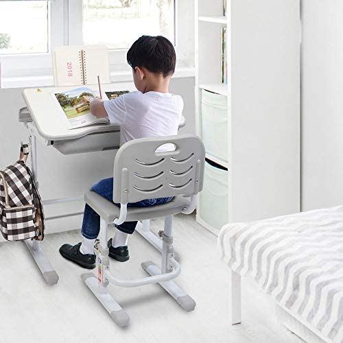 VALUE BOX Kids Desk And Chair Set, Height Adjustable Children Study Table And Chair Set With Tilting Desktop, School Students Workstation For Studying, Reading And Drawing (Grey)