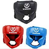 AIWAYING Boxing Headgear, Essential Professional Synthetic Leather MMA Protector Headgear, UFC Fighting,Judo,Kickboxing Head Guard Sparring Helmet (Black)