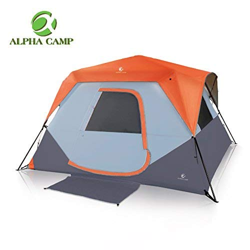 ALPHA CAMP 6 Person Instant Cabin Tent Camping/Traveling Family Tent Lightweight Rainfly with Mud Mat – 10′ x 9′ Orange
