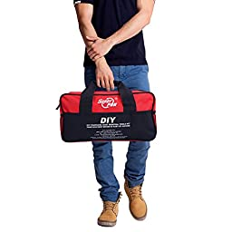 PDR Tool Bag AUTOPDR Multi Purpose Carry Bag Durable Nylon Tool Storage Bag with Luminous Trilateral Marks 15.7inx4.6inx8.3in(Red&Black)