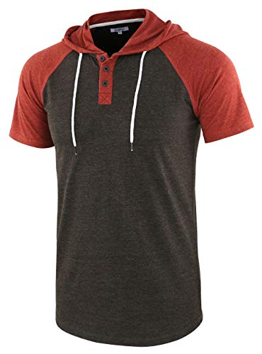 Vetemin Men's Casual Short Raglan Sleeve Henley Jersey Hoodie Baseball T Shirt H.Charcoal/Rusty S