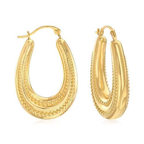 Ross-Simons 14kt Yellow Gold Beaded Oval Hoop Earrings ()