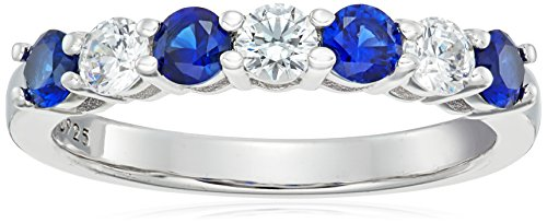 Platinum-Plated Sterling Silver Swarovski Zirconia 7-Stone Round-Cut and Created Sapphire Ring size 7