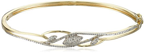 - 18k Yellow Gold Plated Sterling Silver Diamond Bangle Bracelet (1/4 cttw, I-J Color, I2-I3 Clarity), 7.25