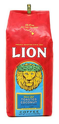 Lion Coffee TOASTED COCONUT, Whole Bean, LIGHT Roast, HUGE 24 Oz. 1.5 lb BARGAIN Bag with Bag Clip, Island-Style
