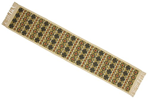 - Splendid Exchange Southwestern Style Woven Cotton Stencil Table Runner, 72 Inches by 13 Inches, Crosses and Diamonds Tan