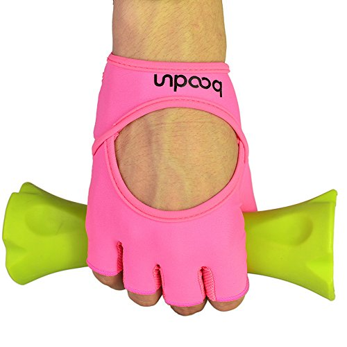 Anser 7150282 Woman Lycra Half Finger Girl Short Fingerless Gloves for INDOOR Yoga Gym Fitness Body Building Training (Pink, SM)