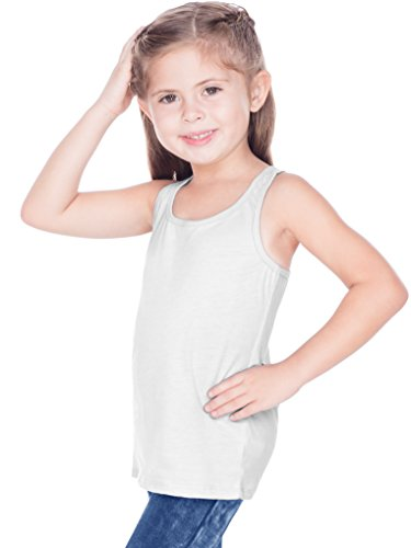 Kavio! Little Girls 3-6X Sheer Jersey Racer Back Tank White 3