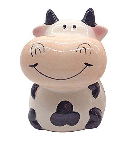 ZCHING Cute Cow Ceramic Piggy Bank Personalized Money Saving Bank for Kids Girls Boy Nursery Gift ()