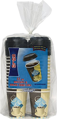 Solo Duo (SOLO FSIC12-J7534 Duo Shield Insulated Paper Hot Cup with Lid, 12 oz. Capacity, 4.3
