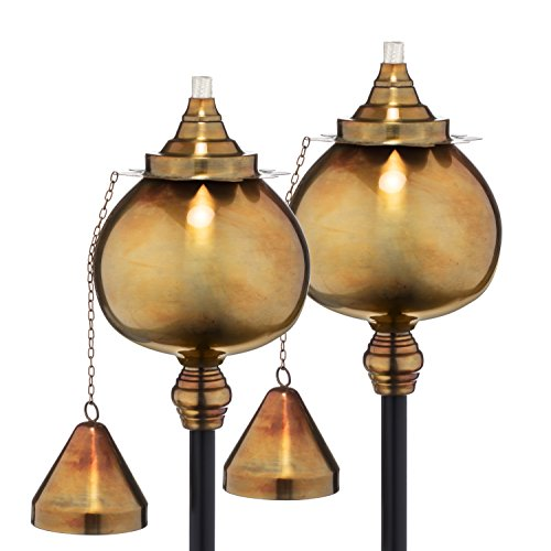 H Potter Outdoor Torches Copper Rustic Patio Deck 591 Set of 2 Garden Torch Rustic Finish