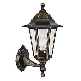 MiniSun - Tradicional lámpara farol de pared 'Mayfair' para exterior - de seguridad, IP44, en color negro