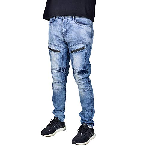 - Waimea Mens Slim Fit Premium Fashion Skinny Stretch Denim Jeans Blue Grey Wash 30