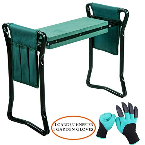 Garden Kneeler and Seat with 1 pair Garden Glove Protects Your Knees Clothes from Dirt and Grass Stains Foldable Stool for Ease of Storage EVA Foam Pad Sturdy and Lightweight (Kneeler Garden Stool)