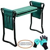 Garden Kneeler and Seat & 1 pair Garden Glove– Protects Your Knees, Clothes from Dirt & Grass Stains – Foldable Stool for Ease of Storage – EVA Foam Pad – Sturdy and Lightweight, Gift for garden lover