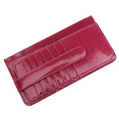 ANNE Women Long Wallet Rosy the First Layer of Wax Leather Couple Card Case Holder
