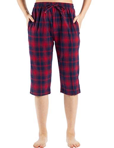 (WEWINK CUKOO Cotton Women Pajama Capri Pants Plaid Lounge Pants with Pockets Sleepwear (XL=US 16-18, Red Plaid))