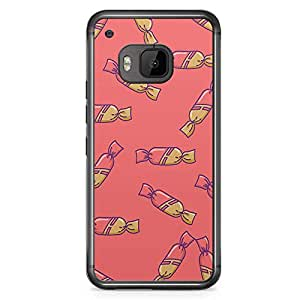 HTC One M9 Transparent Edge Phone Case Candy Pattern Phone Case Cute Candy M9 Cover with Transparent Frame