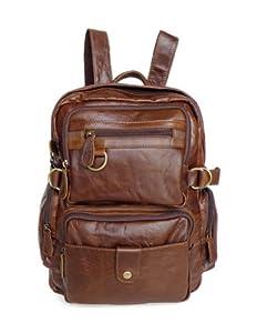 Kattee Multi Pockets Genuine Leather Backpack Shoulder Bag