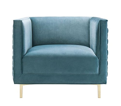 """TOV Furniture The Sal Collection Modern Style Woven Velvet Upholstered Living Room Accent Chair, Sea Blue - Exceptionally Sized: This Chair In The Sal Collection Measures 34.7""""W x 33.5""""D x 28.8""""H and Weighs 55.2lbs. To Perfectly Fit Any Living Room, Den, or Any Desired Area In Your Home. Some Assembly Is Required With This Chair. Built With Quality and Comfort In Mind: Each Sal Chair Is Made With You In Mind, Built To Last With A Soft and Luxurious Velvet Upholstery and Strong and Sturdy Stainless Steel Legs That Serve To Make This Chair A Lasting Fixture In Your Home For Years To Come. Pair This Chair With The Sal Bench To Compete The Collection. Designed With A Modern Sensibility: This Chair In The Sal Collection Includes A Classically Colored Velvet Upholstery That Is Complimented By A Woven Pattern On The Outsides and Shapely Gold Legs That Ensure This Chair Will Leave An Impression. - living-room-furniture, living-room, accent-chairs - 412iNyMf%2BPL -"""
