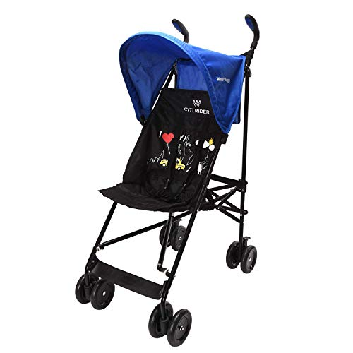 Wonder buggy Lightweight Baby Jumbo Umbrella Stroller with Rounded Hood (Blue)