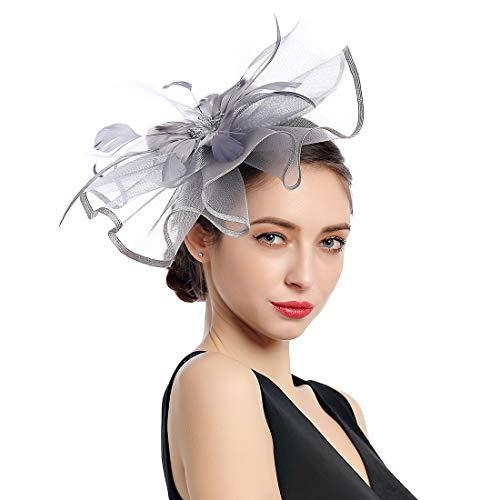 Women Fascinators Tea Party Cocktail Hair Clip Kentucky Derby Wedding Hat]()