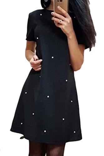 Cambio Camisa Mujer Elegante Vestido De Fiesta De Verano Black