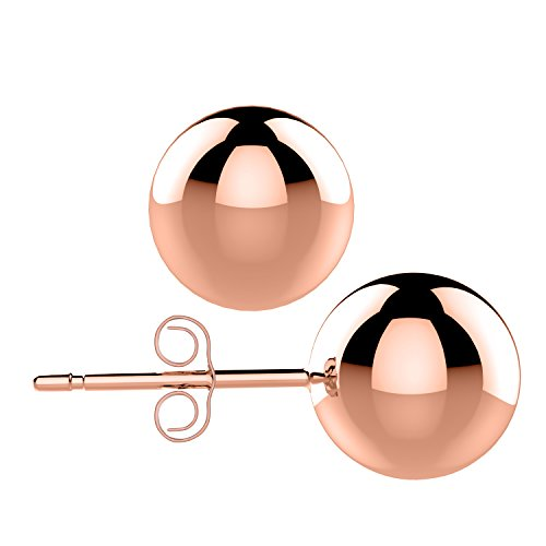 UHIBROS 316L Stainless Steel 24K Rose Gold Round Ball Stud Earrings