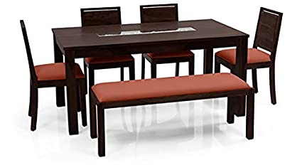 Home Delight Benton Roman 6 Seater Dining Table Set With Upholstered Bench Mahogany Orange