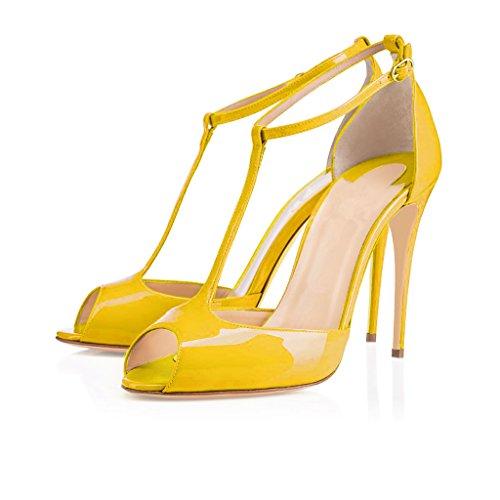 EDEFS Femmes Escarpins Talon Haut Aiguille Bride Cheville Chaussures Bout Ouvert Jaune H78SeN6zi