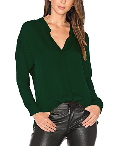 Dohia Women's Casual V Neck Chiffon Blouses Long Sleeve Loose Tops Shirt C2613 (L, (Chiffon Green)