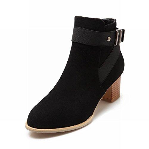 Carolbar Womens Zipper Buckle Simple Office Lady Fashion Mid Heel Short Boots Black