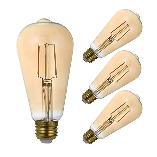 LED Vintage Edison Filament Light Bulb 4 Pack ST21 2.5W Equivalent to 19W, Dimmable Amber Glass Warm White 2200K