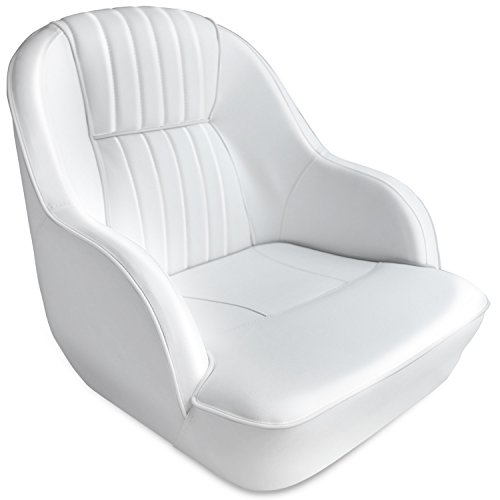 Leader Accessories Pontoon Captains Bucket Seat Boat Seat (White/White Piping)
