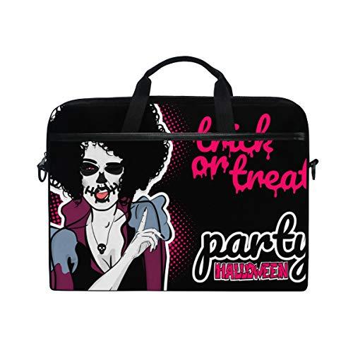 TARTINY 15-15.4 Inch Laptop Bag Pop Art Halloween Evil Zombie Makeup Shoulder Messenger Bags Sleeve Case Tablet Briefcase with Handle -