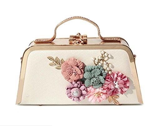 GZHGF Bolso De Mano para Mujer Bolso De Mujer Bolso Clásico Bolso Tridimensional De Flores Cuero De PU,Gold White