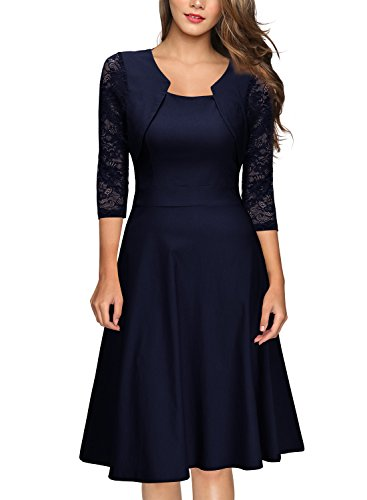 Miusol Women's Vintage Square Neck Floral Lace 2/3 Sleeve Cocktail Swing Dress, Navy Blue, Small