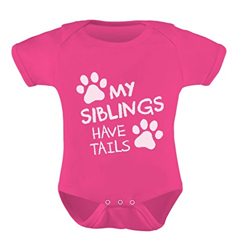 My Siblings Have Tails Cute Novelty Funny Infant Baby Boy Girl Bodysuit Newborn Wow Pink (Ideas Gift Wow)