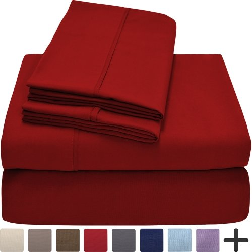 Premium 1800 Ultra-Soft Microfiber Collection Sheet Set - Double Brushed - Hypoallergenic - Wrinkle Resistant - Deep Pocket (Queen, Red)