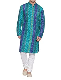 Shaliindia Men Cotton Long Kurta Nehru Collar 3 pockets,Teal