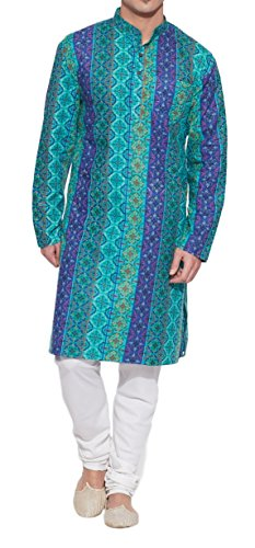 ShalinIndia Cotton Long Nehru Collar Indian Mens Kurta Shirt 3 pockets-Teal-Size 40 Inch ()
