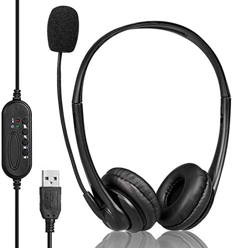 [해외]Geekria USB HeadsetMic and Mute Option Wired Headphone for PC Laptop Tablet Computer HeadsetNoise Cancelling Microphone All Day Comfort for Meetings Call Center School (Black) / Geekria USB HeadsetMic and Mute Option Wired Headphon...