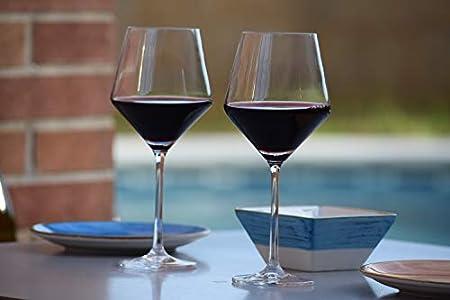 EDELITA Copas de Vino Tipo Borgoña, 450 ml, Juego de 6, Copas Especiales para Vino Tinto, sin Plomo, Copas para Vino Tinto Tipo balón con Mucho Estilo Que caracteriza.